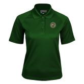 Ladies Dark Green Textured Saddle Shoulder Polo-Seal
