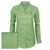 Ladies Red House Green Herringbone Non Iron Long Sleeve Shirt-Barons - Franciscan University - Official Logo