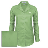 Ladies Red House Green Herringbone Non Iron Long Sleeve Shirt-Franciscan University Mark