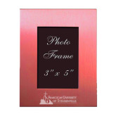 Pink Brushed Aluminum 3 x 5 Photo Frame-Franciscan University Mark - Flat Engraved