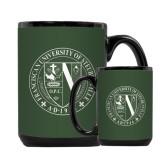 Full Color Black Mug 15oz-Fanciscan University Seal