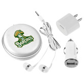 3 in 1 White Audio Travel Kit-Barons - Franciscan University - Official Logo