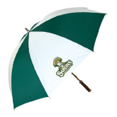 62 Inch Forest Green/White Umbrella-Barons - Franciscan University - Official Logo