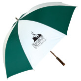62 Inch Forest Green/White Umbrella-Franciscan University Mark