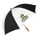 62 Inch Black/White Umbrella-Barons - Franciscan University - Official Logo