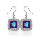 Crystal Studded Square Pendant Silver Dangle Earrings-Pirate