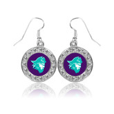 Crystal Studded Round Pendant Silver Dangle Earrings-Pirate