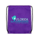 Purple Drawstring Backpack-Primary Logo