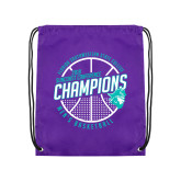 Purple Drawstring Backpack-Suncoast Mens Basketball Champions