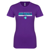 Next Level Ladies SoftStyle Junior Fitted Purple Tee-Florida SouthWestern Softball Stencil