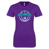 Next Level Ladies SoftStyle Junior Fitted Purple Tee-Buccaneers Basketball Arched Ball