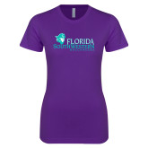 Next Level Ladies SoftStyle Junior Fitted Purple Tee-Florida SW Buccaneers