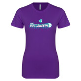 Next Level Ladies SoftStyle Junior Fitted Purple Tee-FSW Buccaneers Baseball
