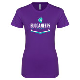 Next Level Ladies SoftStyle Junior Fitted Purple Tee-Buccaneers Baseball Plate