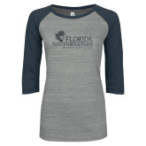 ENZA Ladies Athletic Heather/Navy Vintage Baseball Tee-Primary Logo Graphite Glitter