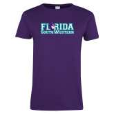 Ladies Purple T Shirt-Florida Stacked