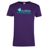 Ladies Purple T Shirt-Primary Logo Distressed