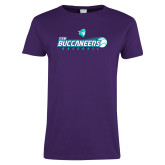 Ladies Purple T Shirt-FSW Buccaneers Baseball