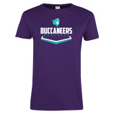 Ladies Purple T Shirt-Buccaneers Baseball Plate