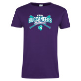 Ladies Purple T Shirt-FSW Buccaneers Softball Crossed Sticks
