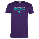 Ladies Purple T Shirt-Florida SouthWestern Softball Stencil