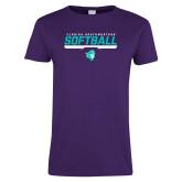 Ladies Purple T-Shirt-Florida SouthWestern Softball Stencil