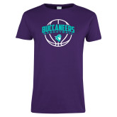 Ladies Purple T-Shirt-Buccaneers Basketball Arched Ball