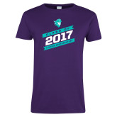 Ladies Purple T Shirt-Class Of - Slanted Banners, Personalized Year