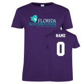 Ladies Purple T-Shirt-Primary Logo, Custom Tee w/ Name and #