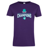 Ladies Purple T Shirt-Suncoast Womens Basketball Champions