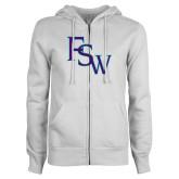 ENZA Ladies White Fleece Full Zip Hoodie-FSW