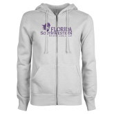 ENZA Ladies White Fleece Full Zip Hoodie-Primary Logo Purple Glitter