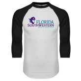 White/Black Raglan Baseball T Shirt-Florida SW Buccaneers