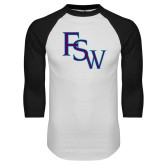 White/Black Raglan Baseball T Shirt-FSW