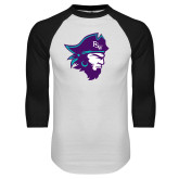 White/Black Raglan Baseball T Shirt-Pirate