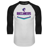White/Black Raglan Baseball T Shirt-Buccaneers Baseball Plate