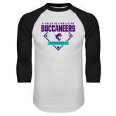 White/Black Raglan Baseball T Shirt-Buccaneers Baseball Diamond