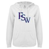 ENZA Ladies White V Notch Raw Edge Fleece Hoodie-FSW