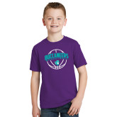 Youth Purple T Shirt-Buccaneers Basketball Arched Ball