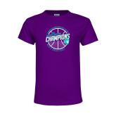 Youth Purple T Shirt-Suncoast Mens Basketball Champions