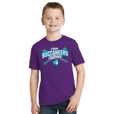 Youth Purple T Shirt-FSW Buccaneers Softball Crossed Sticks