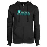 ENZA Ladies Black Fleece Full Zip Hoodie-Florida SW Buccaneers