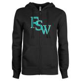 ENZA Ladies Black Fleece Full Zip Hoodie-FSW