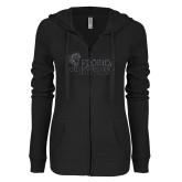 ENZA Ladies Black Light Weight Fleece Full Zip Hoodie-Primary Logo Graphite Glitter