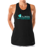 Ladies Under Armour Black Pinhole Tank-Primary Logo