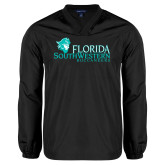 V Neck Black Raglan Windshirt-Florida SW Buccaneers