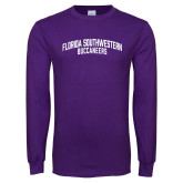 Purple Long Sleeve T Shirt-Arched Florida SouthWestern Buccaneers