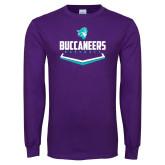 Purple Long Sleeve T Shirt-Buccaneers Baseball Plate