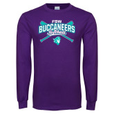 Purple Long Sleeve T Shirt-FSW Buccaneers Softball Crossed Sticks