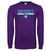 Purple Long Sleeve T Shirt-Florida SouthWestern Softball Stencil